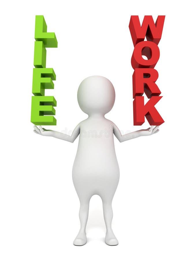 Les mots blancs de travail et de vie de participation de l'homme 3d en tant qu'échelles équilibrent illustration stock