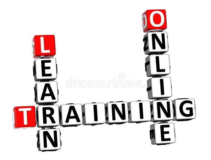 les mots croisé du rendu 3D apprennent la formation en ligne au-dessus de Backgrou blanc illustration stock