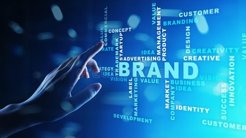 Les mots de marque opacifient sur l'écran virtuel Concept de marquage à chaud, de vente et de la publicité images stock