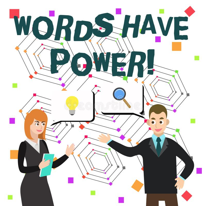 Les mots des textes d'?criture de Word ont la puissance Concept d'affaires pour car ils a la capacit? d'aider ? gu?rir le mal ou  illustration libre de droits