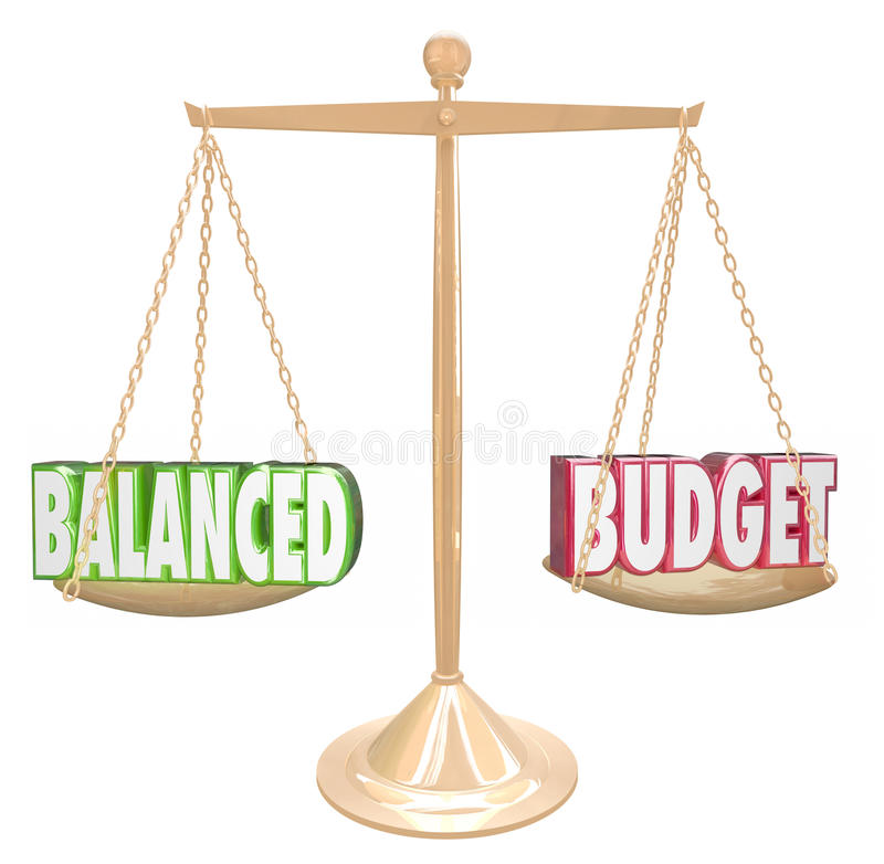 Les mots du budget équilibré 3d mesurent l'égal financier de revenu de coûts illustration libre de droits
