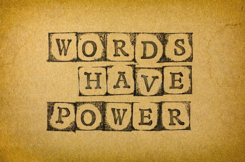 Les mots ont la puissance photo stock