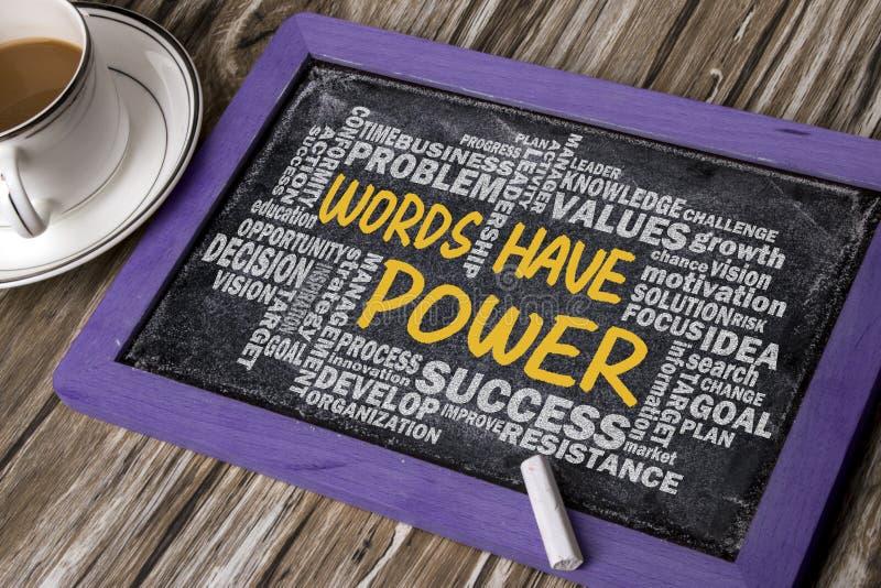 Les mots ont la puissance avec le dessin relatif de main de nuage de mot sur le blackbo photo stock