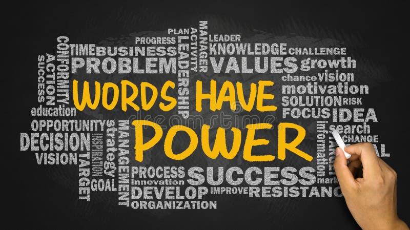 Les mots ont la puissance avec le dessin relatif de main de nuage de mot sur le blackbo photographie stock libre de droits
