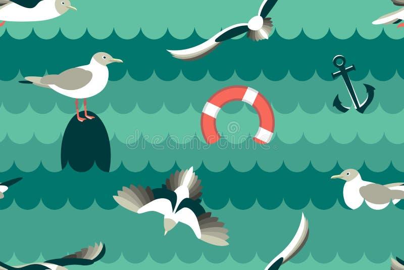 Les mouettes Modèle sans couture avec des oiseaux de mer dans le style d'appartement illustration libre de droits