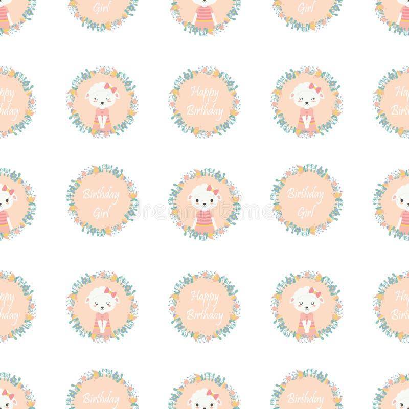 Les moutons mignons sur la bande dessinée de vecteur de guirlande de fleurs appropriée au papier peint d'anniversaire conçoivent illustration de vecteur