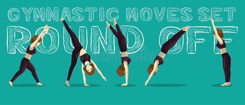 Les mouvements gymnastiques ont placé en rond outre de Manga Cartoon Vector Illustration illustration de vecteur