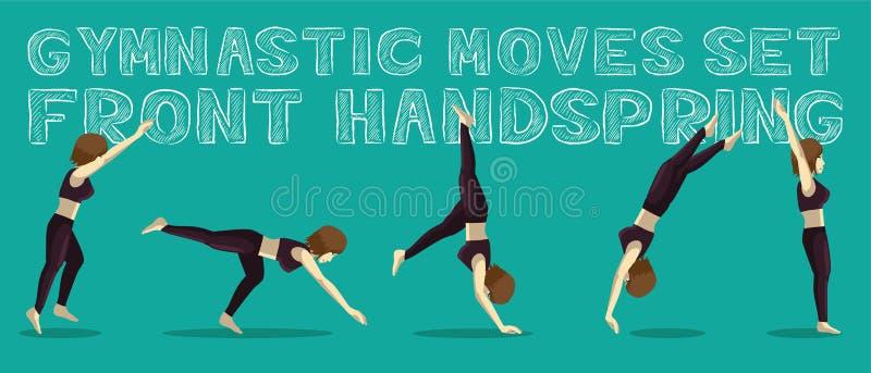 Les mouvements gymnastiques ont placé l'illustration de Front Handspring Manga Cartoon Vector illustration de vecteur