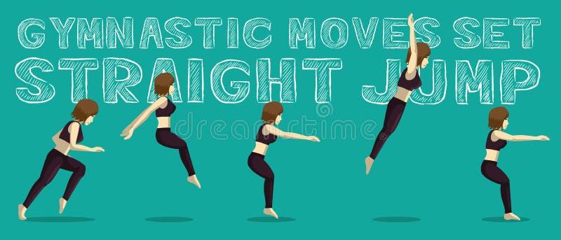 Les mouvements gymnastiques ont placé le saut droit Manga Cartoon Vector Illustration illustration libre de droits