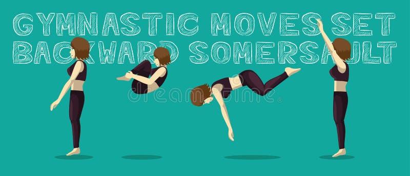 Les mouvements gymnastiques ont placé le saut périlleux arrière Manga Cartoon Vector Illustration illustration de vecteur