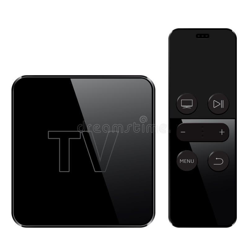 Les multimédia et la TV enferment dans une boîte le récepteur et le joueur avec le contrôleur à distance illustration stock