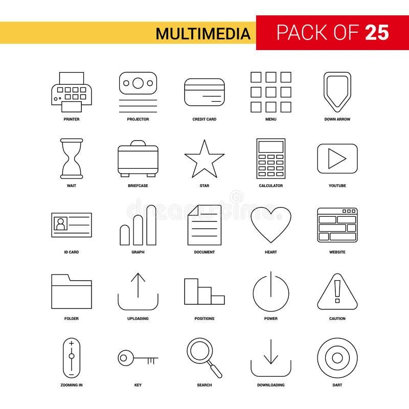 Les multimédia noircissent la ligne icône - ensemble d'icône d'ensemble de 25 affaires illustration stock