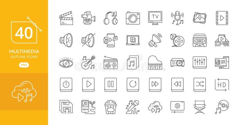 Les multimédia ont rapporté la ligne icônes de vecteur illustration de vecteur
