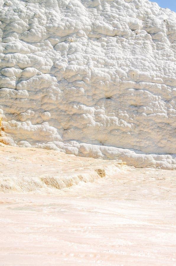 Les murs et les terrasses blancs de plancher ont formé du travertin dans Pamukkale, province de Denizli photographie stock