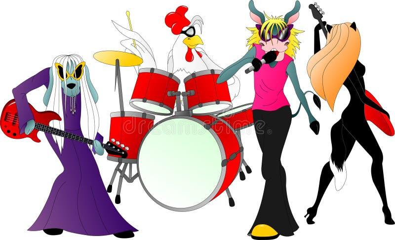 Les musiciens de ville de Brême : soliste d'âne, batteur de coq, chat et guitaristes de chien illustration libre de droits