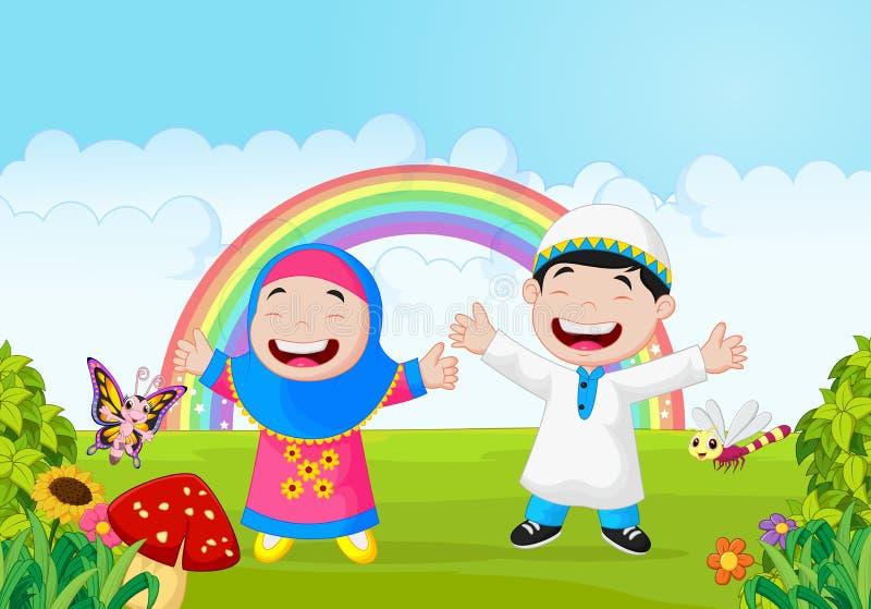 Les musulmans heureux badinent la main de ondulation de bande dessinée avec l'arc-en-ciel illustration libre de droits