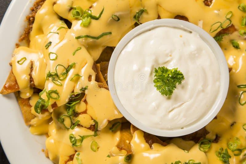 Les Nachos ébrèche avec du fromage de cheddar et plonge la variété dans le plat photographie stock libre de droits