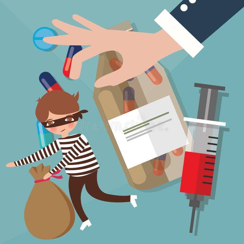 Les narcotiques de trafic de stupéfiants illégaux passant la police en contrebande de crime essayent d'attraper illustration de vecteur