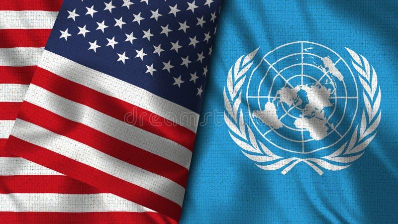 Les Nations Unies et drapeau des Etats-Unis - 3D drapeau de l'illustration deux illustration de vecteur