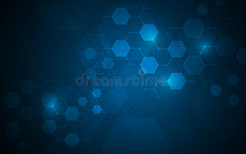Les noeuds moléculaires de technologie d'hexagone relient le fond de concept d'innovation de conception illustration stock