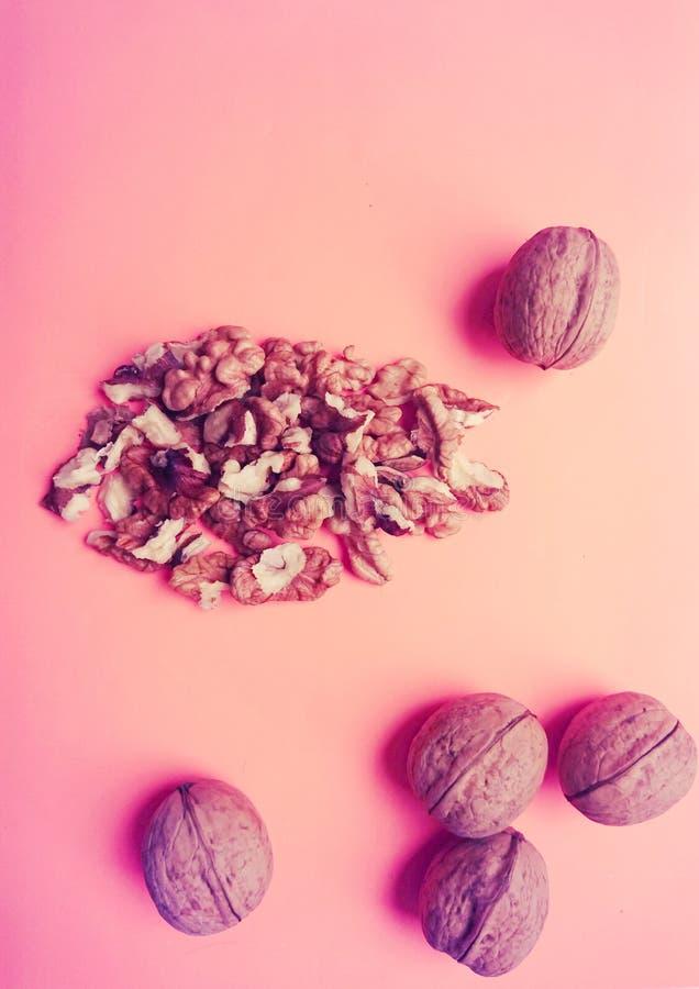 Les noix mûres se trouvent sur un fond rose doux images stock