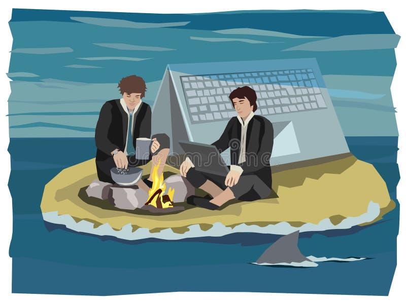 Les nomades de Digital ont échoué sur une petite île calculant et détendant sur un feu de camp images stock