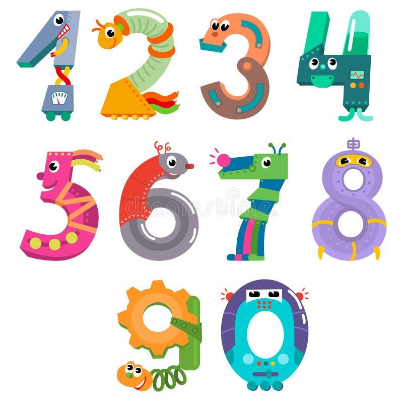 Les nombres aiment des robots illustration stock