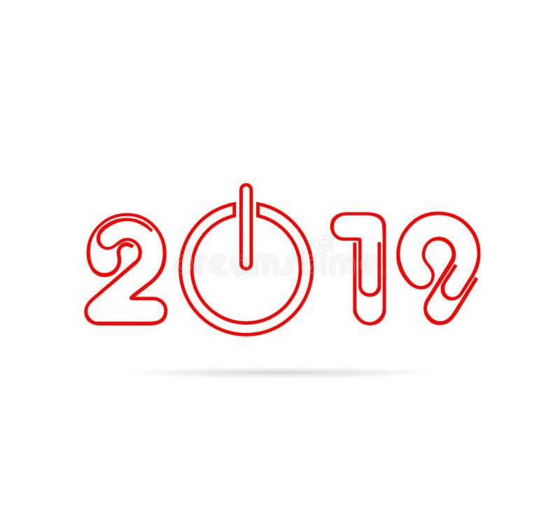 Les nombres de la bonne année 2019 conçoivent avec le bouton de puissance illustration stock