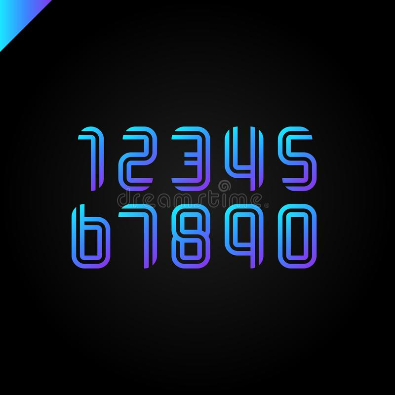 Les nombres de police de sport ont placé des logos constitués par les lignes parallèles Dirigez la conception pour la bannière, l illustration stock