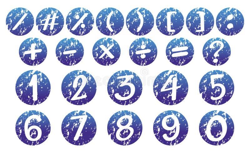 Les nombres et se connecte les insignes bleus illustration de vecteur