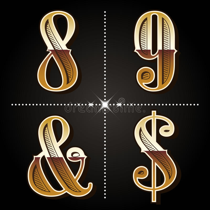 Les nombres occidentaux de vintage de lettres d'alphabet de gradient conçoivent le vecteur illustration libre de droits