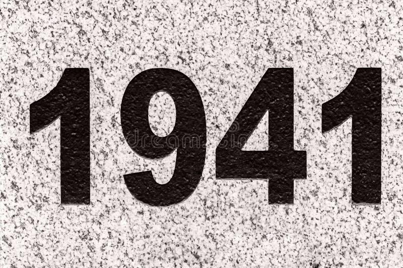 Les nombres schéma 1941 sur une dalle de marbre photos stock