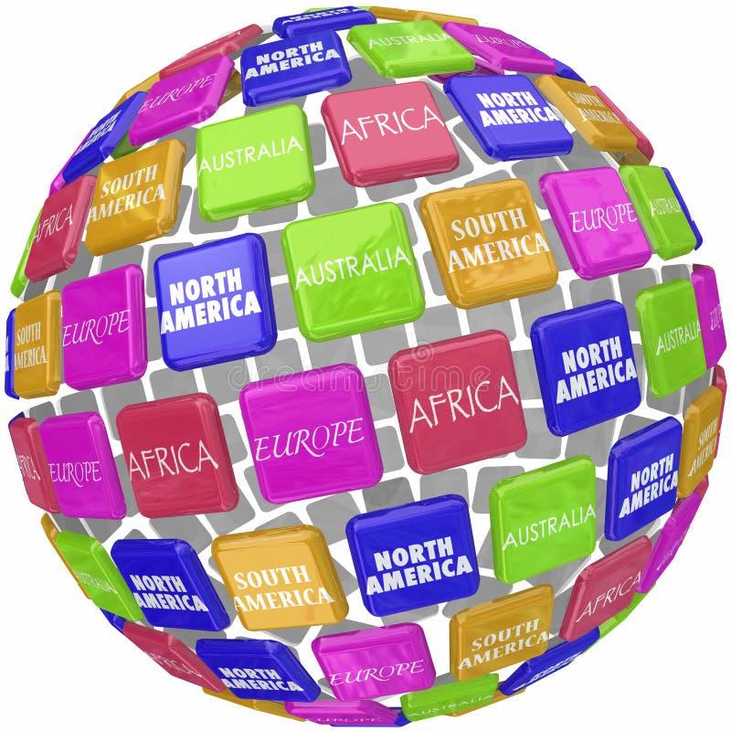 Les noms continents du monde sur des tuiles du globe 3d voyagent autour de la terre illustration stock