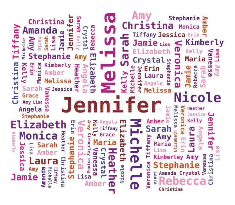 Les noms des femmes de nuage de mot illustration stock