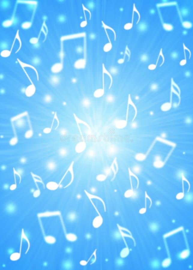 Les notes abstraites de musique soufflent à l'arrière-plan bleu trouble illustration stock