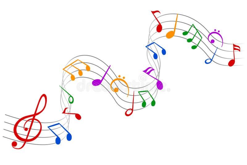 Les notes de musique vecteur ondulent, groupent de notes musicales de fond ? ?? illustration libre de droits