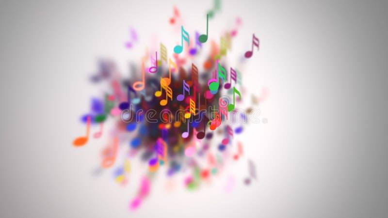 Les notes musicales avec la profondeur du champ illustration libre de droits