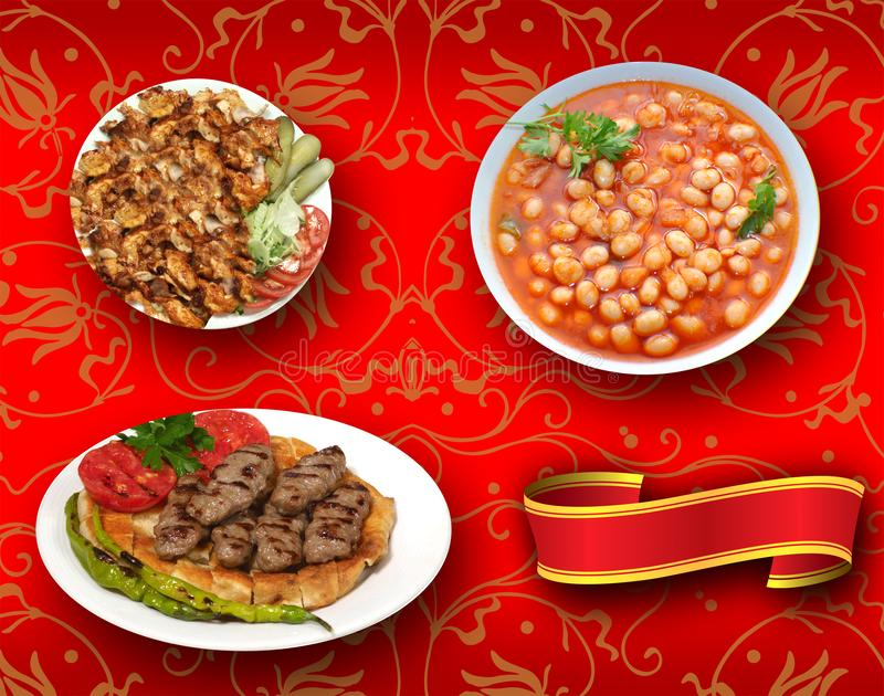 Les nourritures turques, turc parlent : yemekleri de rk de ¼ de tÃ, doner, fasulye de kuru, kofte de pideli photo stock