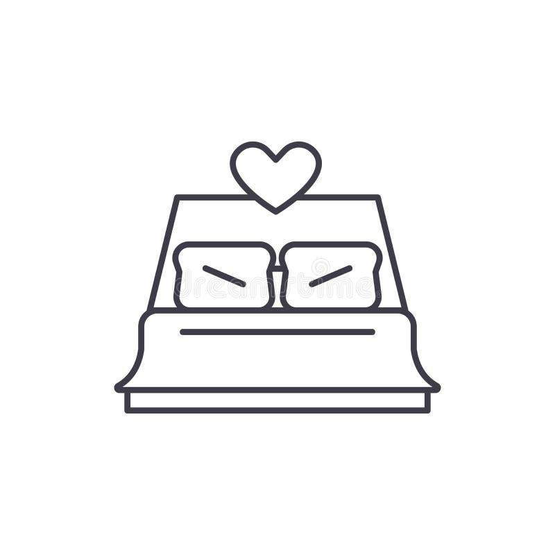 Les nouveaux mariés de lit rayent le concept d'icône Les nouveaux mariés de lit dirigent l'illustration linéaire, symbole, signe illustration de vecteur