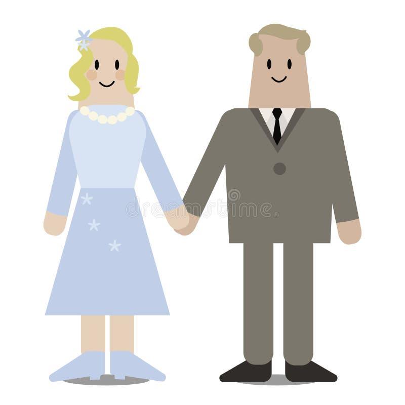 Les nouveaux mariés de vecteur jugent leurs mains d'isolement sur le fond blanc illustration de vecteur