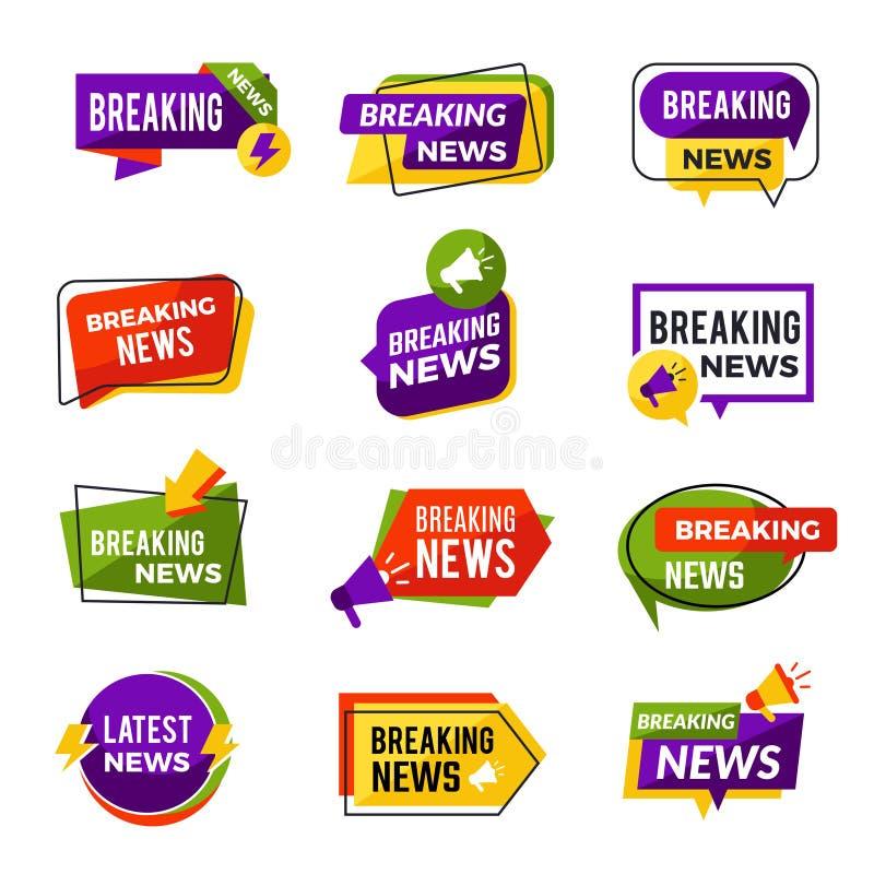 Les nouvelles annoncent Informateurs géométriques quotidiens de médias pour l'information de publicité de site Web pour des insig illustration de vecteur