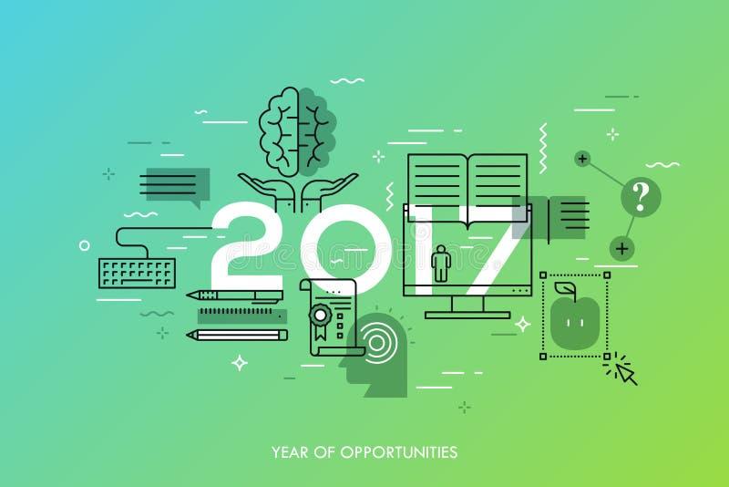 Les nouvelles perspectives et prévisions dans l'Internet court, formation à distance, perfectionnement des connaissances personne illustration de vecteur