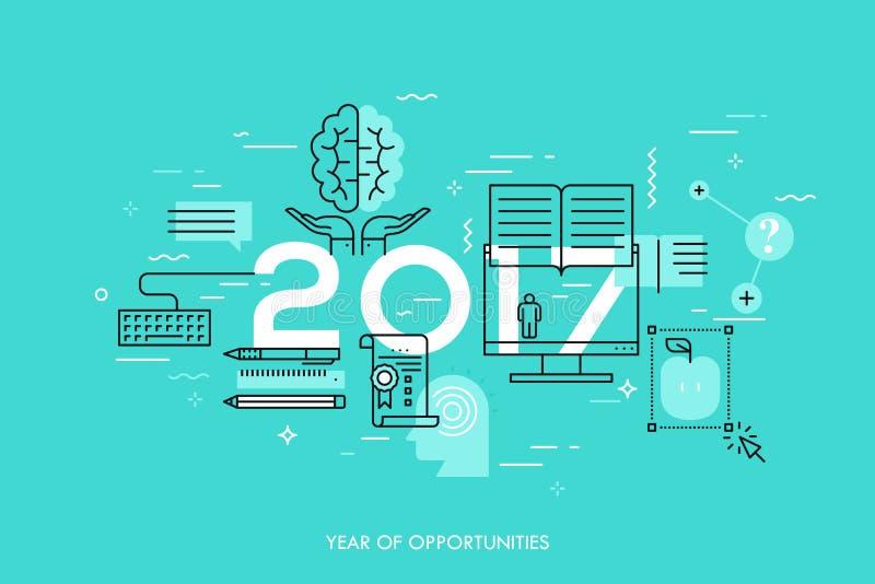 Les nouvelles perspectives et prévisions dans l'Internet court, formation à distance, perfectionnement des connaissances personne illustration libre de droits