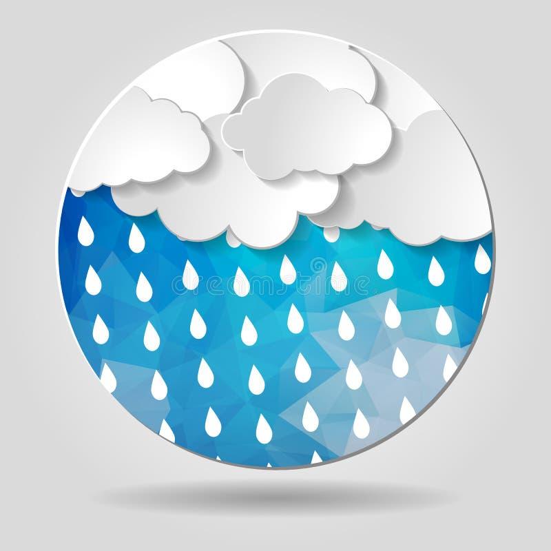 Les nuages avec la pluie se laisse tomber sur la circulaire géométrique bleue abstraite s illustration libre de droits