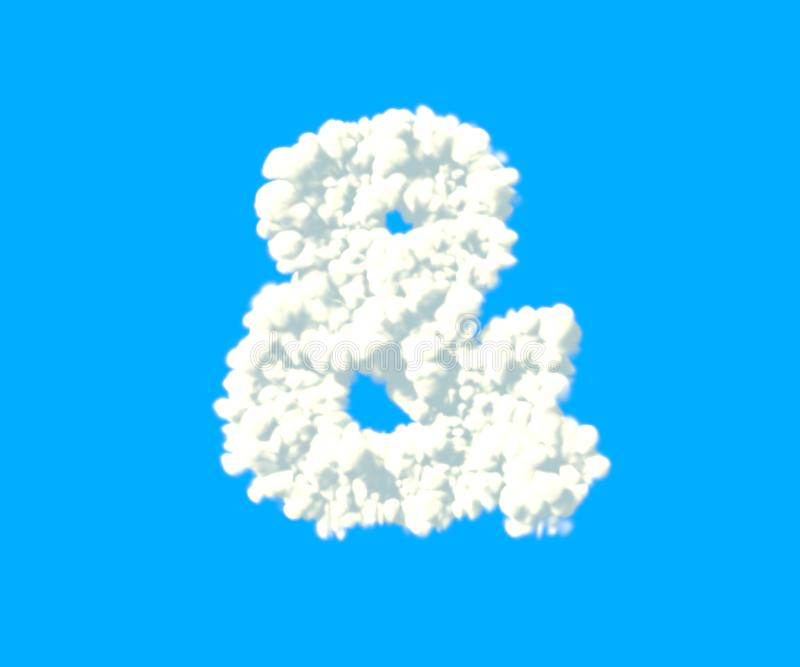 Les nuages conçoivent l'alphabet, esperluète nuageuse blanche d'isolement sur le fond de ciel - l'illustration 3D des symboles illustration de vecteur