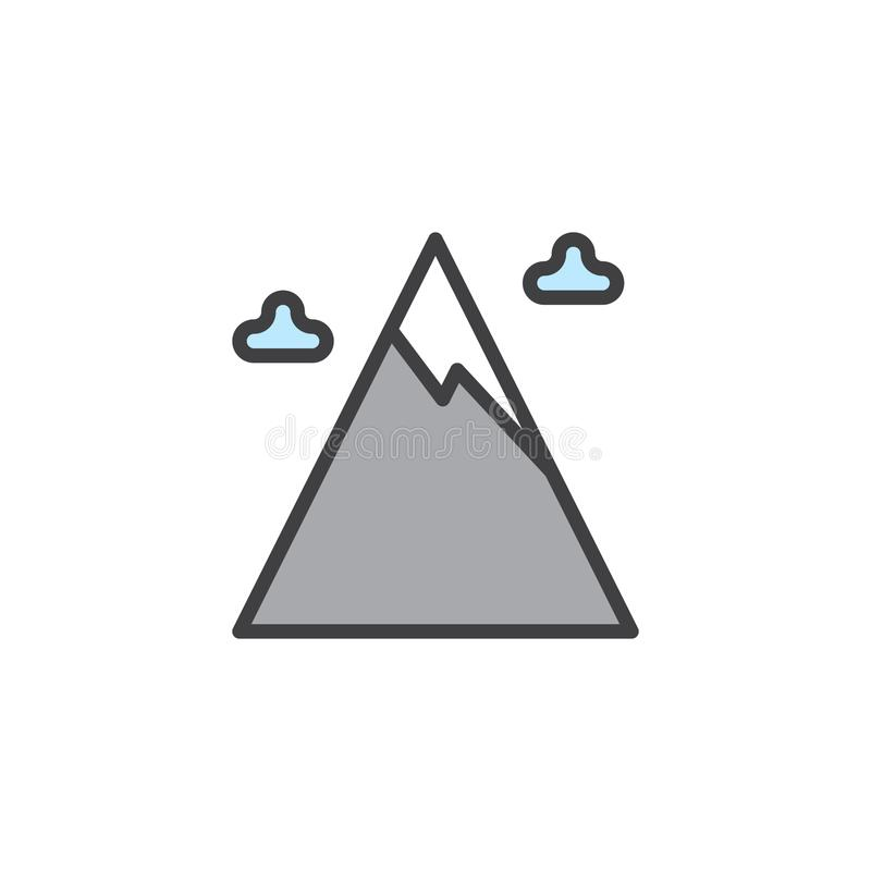 Les nuages de crête et d'hiver de montagne de neige ont rempli icône d'ensemble illustration de vecteur