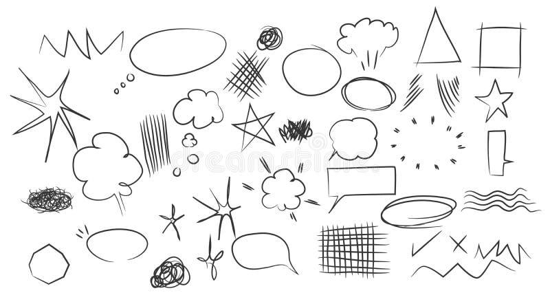 Les nuages tirés par la main de bulles de la parole d'éléments arrondit la conception d'étoiles illustration de vecteur