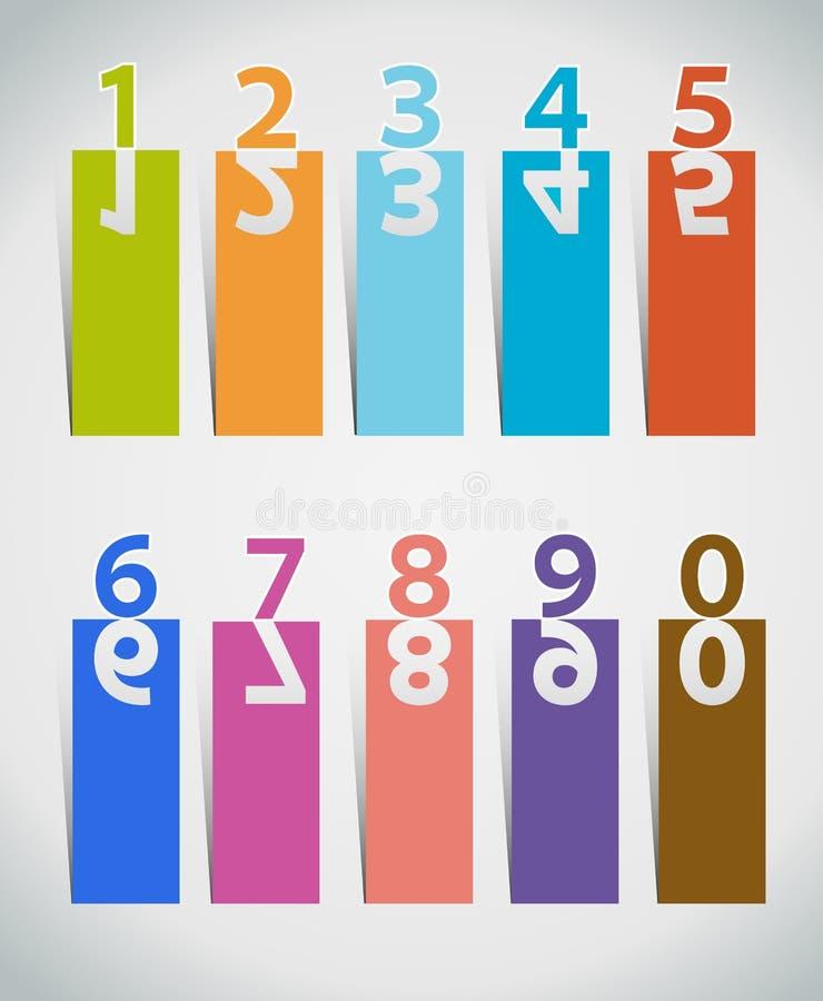 les numéros ont placé coupe de papier illustration stock