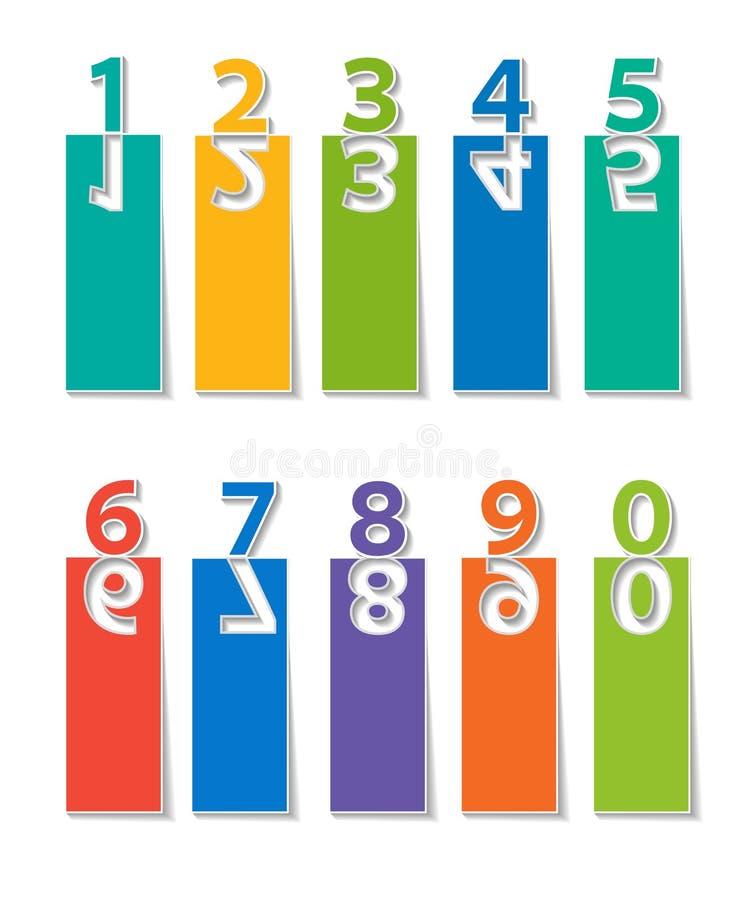 les numéros ont placé coupe de papier illustration de vecteur