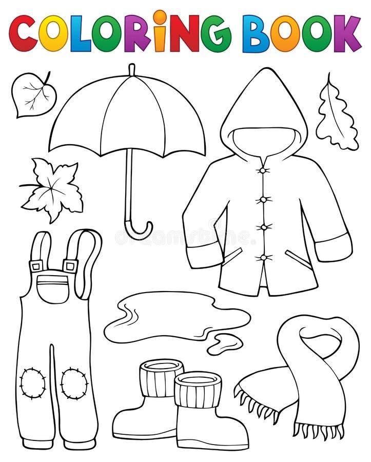 Les objets d'automne de livre de coloriage ont placé 1 illustration de vecteur